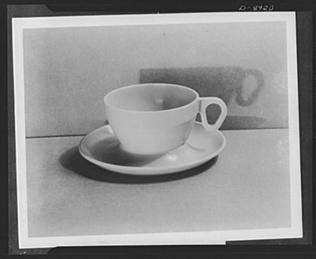 Plastic tableware for the Navy. Streamlined plastic tableware for the Navy features a non-slip, non-drip cup and saucer. Durable dishware is required in new naval specifications to reduce breakage and to conserve vital materials