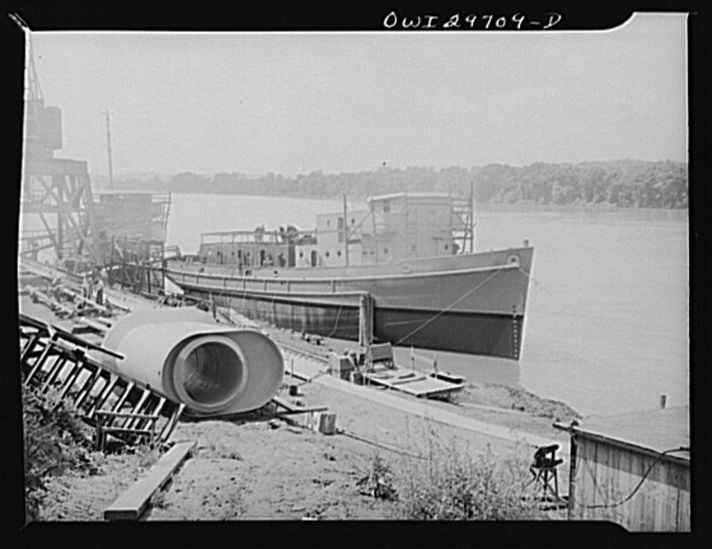 Point Pleasant, West Virginia. A nearly-completed United States Army mine layer at Marietta Manufacturing Company