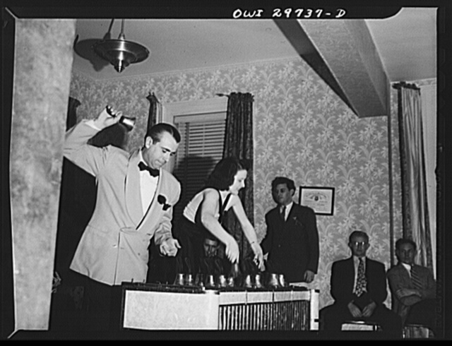 Point Pleasant, West Virginia. Bell ringers at a stag party at the local Moose Temple