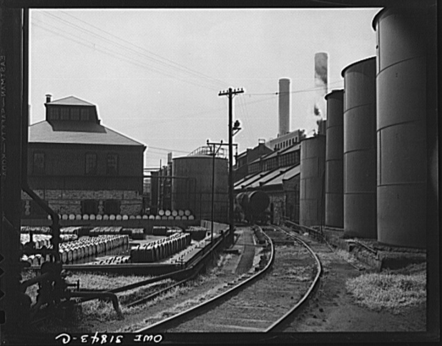 Proctor and Gamble Distributing Company, Cincinnati, Ohio. Drums and storage tanks filled with glycerine