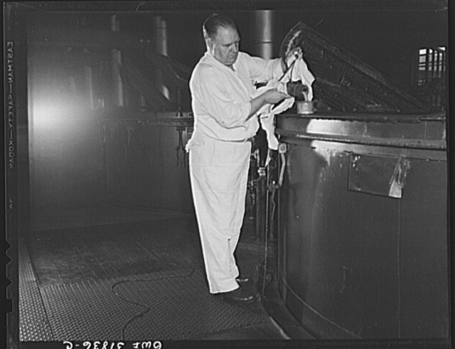 Proctor and Gamble Distributing Company, Cincinnati, Ohio. Samples of soap being taken from the soap kettle