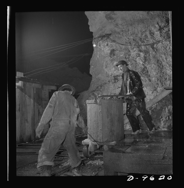 Production. Zinc. A bucket of zinc ore ready for hoisting from a mine serving a large concentrator. From the Eagle-Picher plant near Cardin, Oklahoma, come great quantities of zinc and lead to serve many important purposes in the war effort