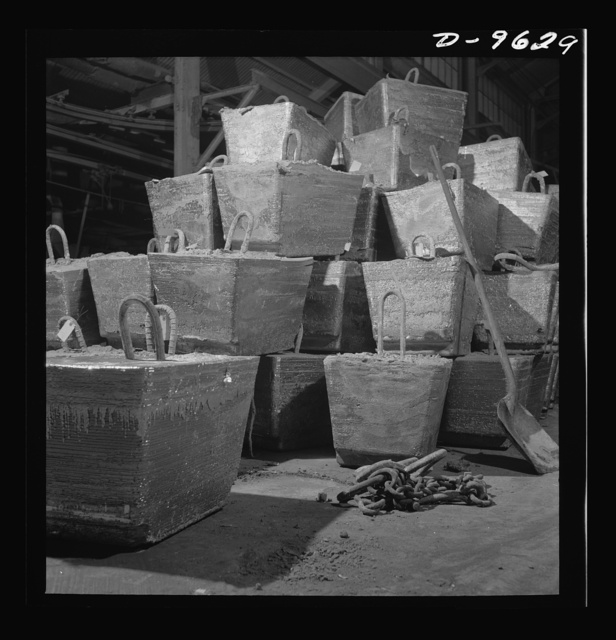 Production. Zinc. Jumbo blocks of lead weighing 2,500 pounds each at a large smelting operation. From the Eagle-Picher plant near Cardin, Oklahoma, come great quantities of zinc and lead to serve many important purposes in the war effort
