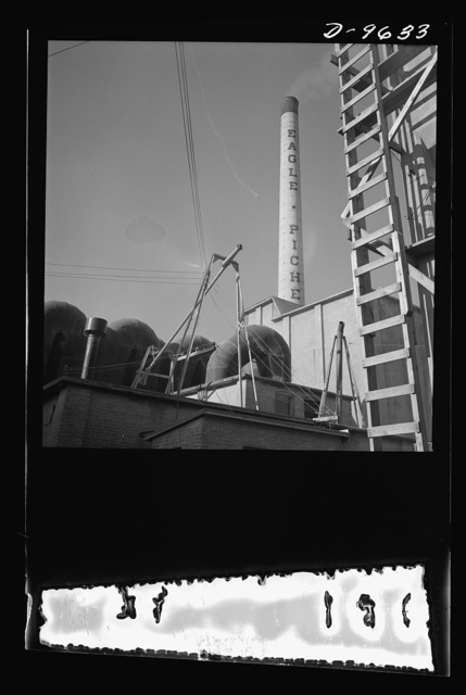 Production. Zinc. Smokestack of a large zinc-lead smelting plant. From the Eagle-Picher plant near Cardin, Oklahoma, come great quantities of zinc and lead to serve many important purposes in the war effort