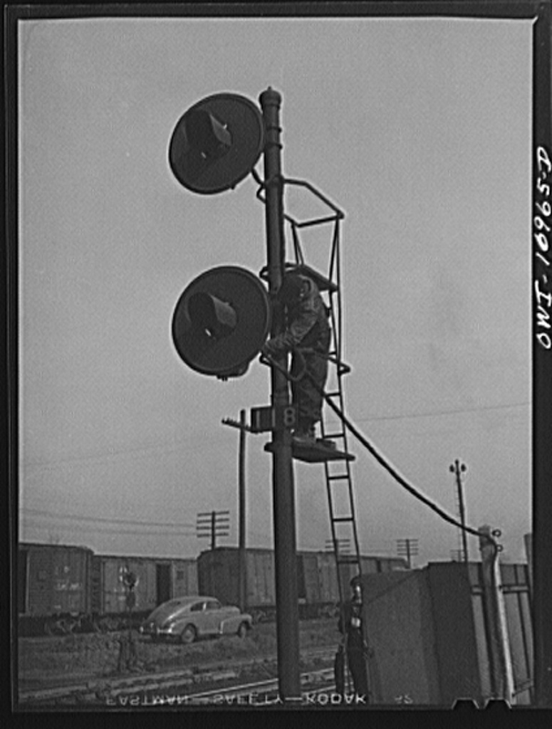 Repairing signals at an Indiana Harbor Belt Line railroad yard