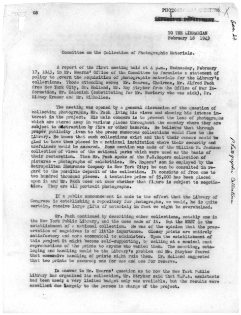 Report from the Committee on the Collection of Photographic Materials, February 18, 1943