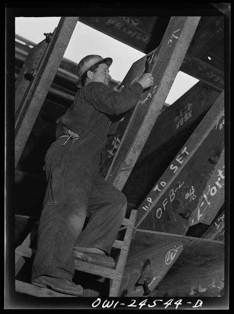 Richmond, California. Permanente Metals Corporation, shipbuilding division, yard number two. Pietro Cressano worked at the yard for seven months, and was in building construction work before that. He was born in America but both parents were born in Italy