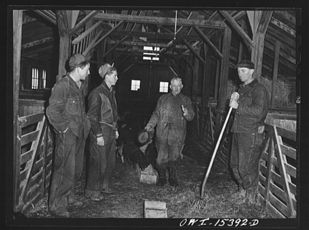 Rio Grande, Gallia County, Ohio. James Uriah Dove in the hog house, talking with his new hired men from Kentucky