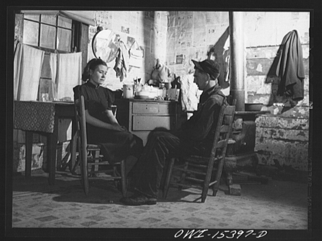 Rio Grande, Gallia County, Ohio. Reed Hall and his wife in their home in the hill section, before moving to 500 acre dairy farm where Mr. Hall received employment as a result of his training at Rio Grande College