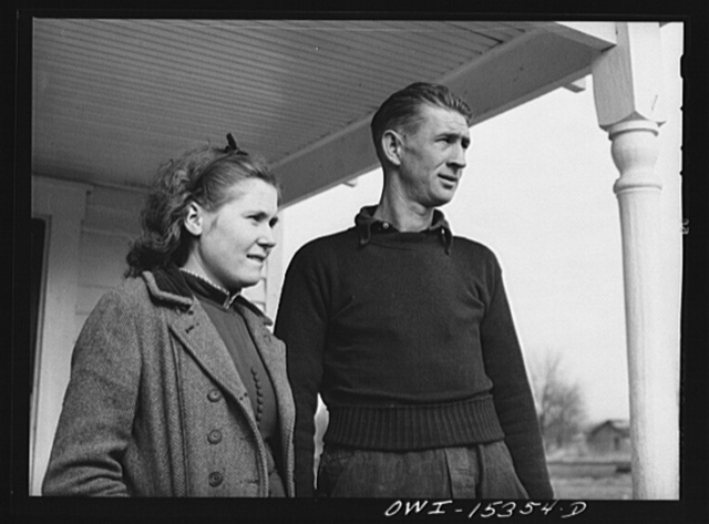 Rio Grande, Ohio. Reed Hall and his wife, Evelyn, on the porch of a new tenant home on 500 acre dairy farm in Gallia County, Ohio, where they were placed after Mr. Hall attended farm labor training school at Rio Grande College, Ohio