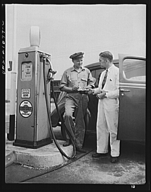 Rochester, New York. As a war worker, Mr. Babcock is allowed enough gasoline to drive to work daily