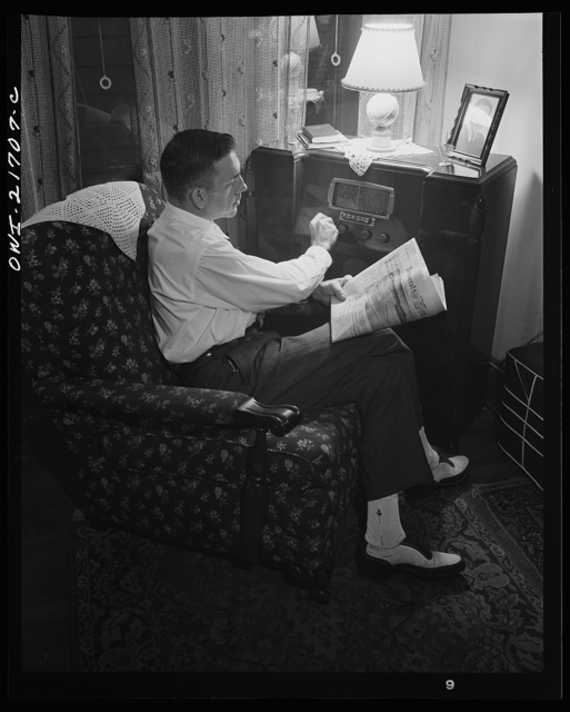 Rochester, New York. Mr. Babcock tuning in for war news