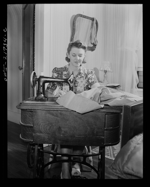 Rochester, New York. Shirley Babcock is very handy at the sewing machine and she helps her mother with the family sewing