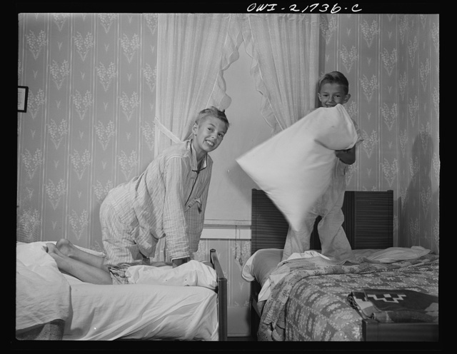 Rochester, New York. The two Babcock boys having a little fun before going to sleep