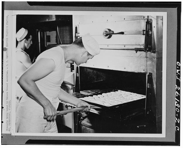 Saint Petersburg, Florida. Biscuits being baked by Bakers school enrollee at the United States Maritime service training station