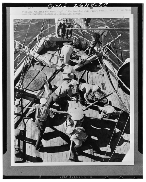 "Saint Petersburg, Florida. Trainees ""walking the anchor up""  of the training ship ""Joseph Conrad"" at the United States Maritime Service training station"