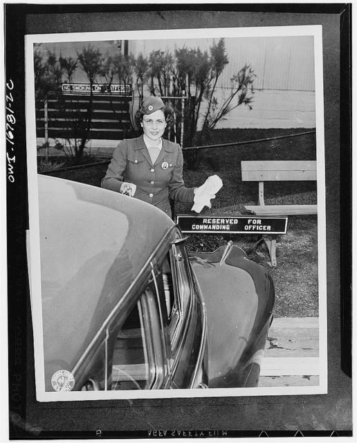 San Antonio, Texas. Mrs. Nernice E. Kelley has the important assignment of driving for Colonel J.A. Porter, Commanding officer of the Quartermaster depot. She is one of 35 hand-picked young women, civil service employees who replace soldiers as drivers and who have rolled up enviable service and safety records