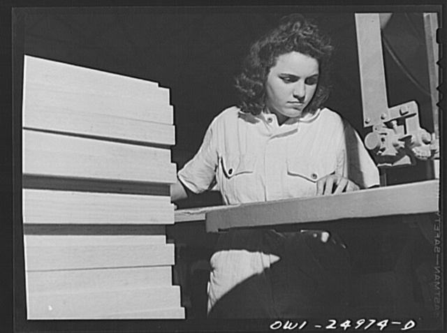 San Augustine, Texas. Girl making chairs in the woodworking shop under the NYA (National Youth Administration) training program