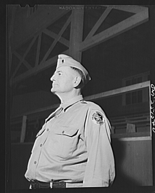 San Augustine, Texas. Lieutenant Gary, local commander of the Texas Defense Guard. Lieutenant Gary is also the county surveyor of San Augustine County