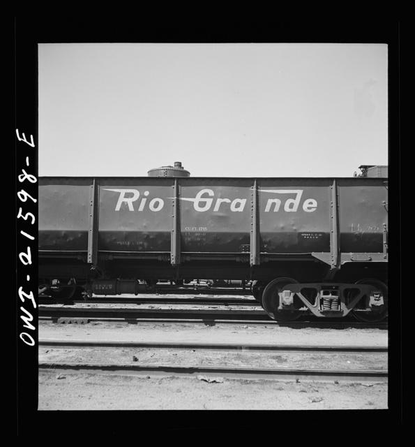 San Bernardino, California. A sign on a car of the Denver and Rio Grande Western Railroad