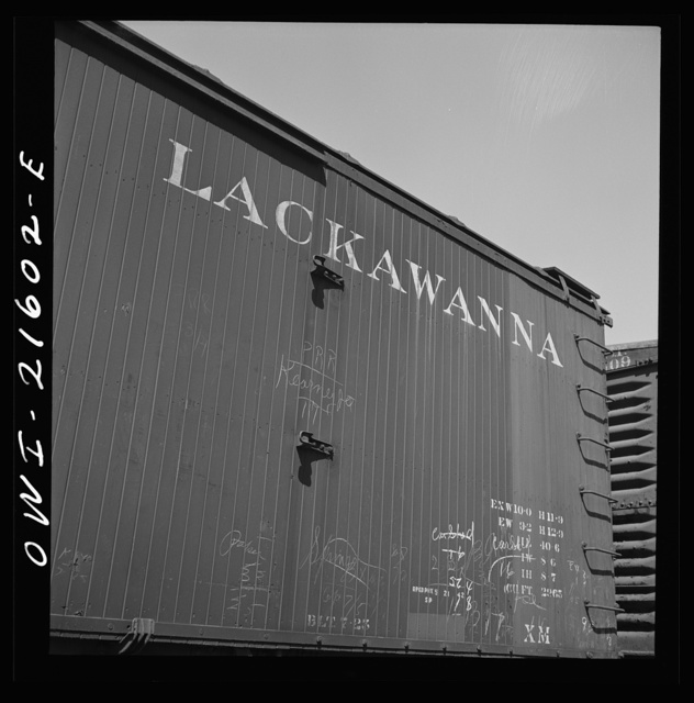 San Bernardino, California. A sign on a freight car of the Delaware, Lackawanna and Western Railroad