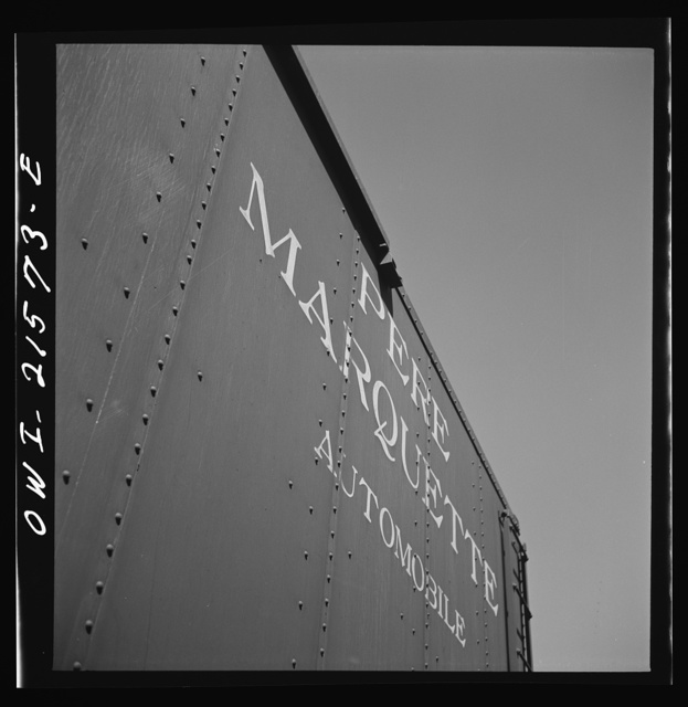 San Bernardino, California. A sign on a freight car of the Pere Marquette Railroad