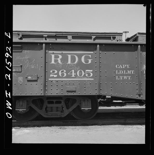 San Bernardino, California. A sign on a gondola car of the Reading Railroad