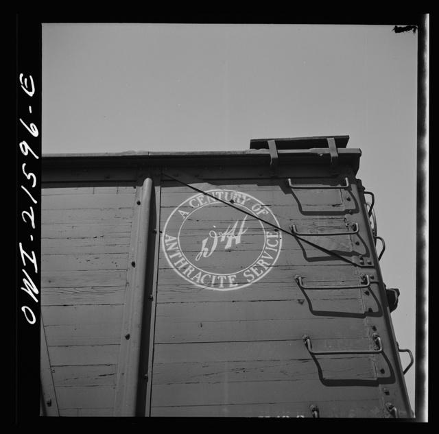San Bernardino, California. An emblem on a freight car of the Delaware and Hudson Railroad