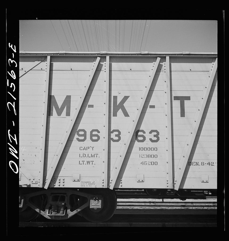 San Bernardino, California. An emblem on a Missouri, Kansas and Texas Railroad Company freight car (the Katy Line)