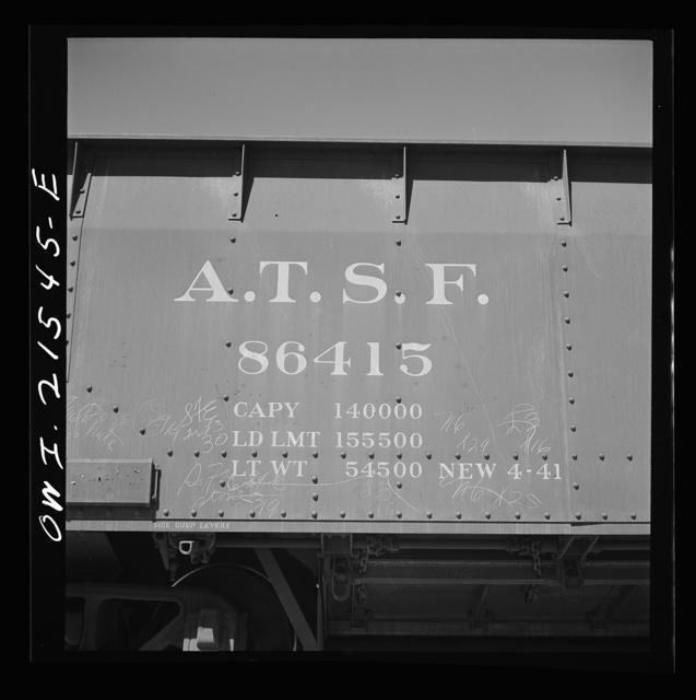 San Bernardino, California. Data on a gondola car of the Atchison, Topeka, and Santa Fe Railroad