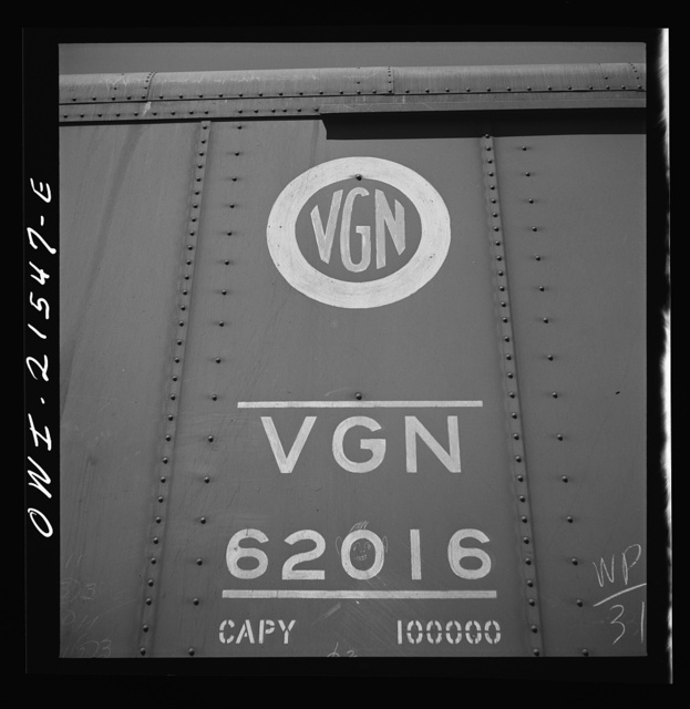 San Bernardino, California. Data on an automobile car of the Virginia Railway Company