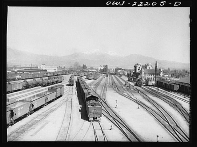 San Bernardino, California. General view of part of the Atchison, Topeka and Santa Fe Railroad yard