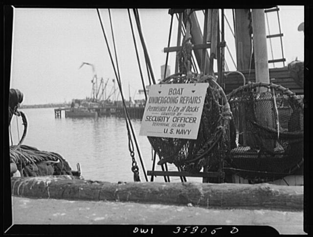 San Pedro, California. Ship undergoing repairs