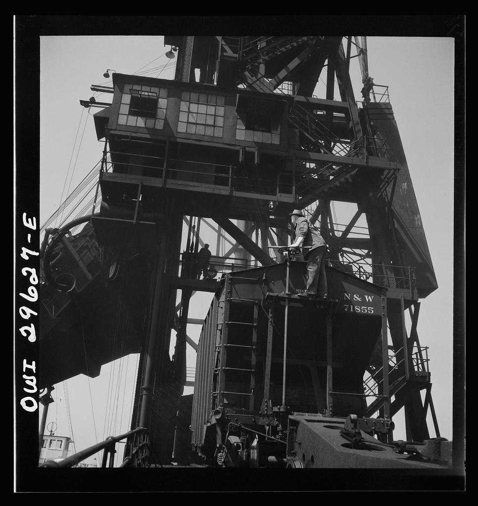 Historic Photo Print Sandusky 1943 Worker Operating Coal Unloader Ohio