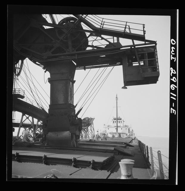 Sandusky, Ohio. Loading coal into a lake freighter at the Pennsylvania Railroad docks