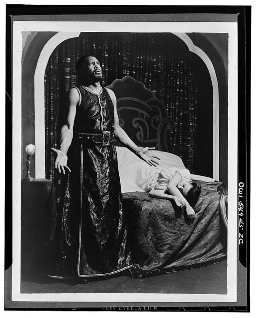 """Scene from """"Othello"""" with Paul Robeson and Margaret Webster [i.e. Uta Hagen as Desdemona]. Theatre Guild production 1943-44"""