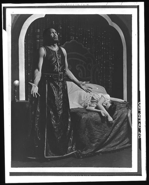 """[Scene from """"Othello"""" with Paul Robeson and Uta Hagen as Desdemona, Theatre Guild production, Broadway, 1943-44]"""