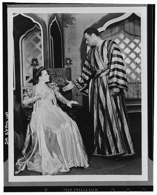 """[Scene from """"Othello"""" with Paul Robeson as Othello and Uta Hagen as  Desdemona, Theatre Guild Production, Broadway, 1943-44]"""