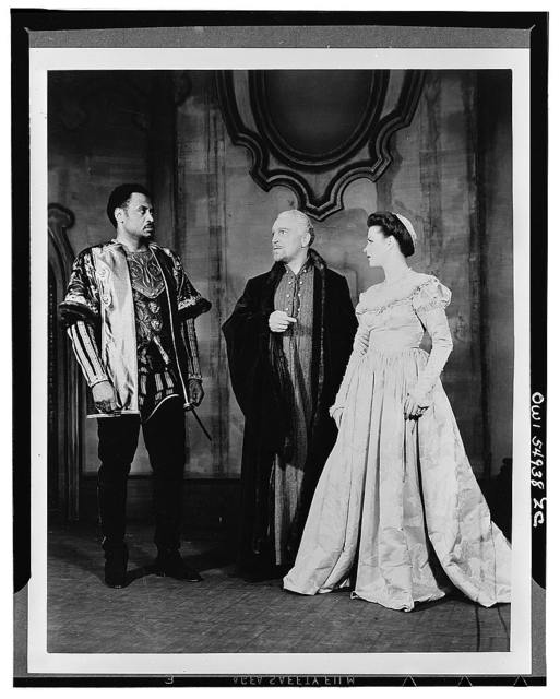 """[Scene from """"Othello"""" with Paul Robeson (left) as Othello and Uta Hagen as  Desdemona, Theatre Guild Production, Broadway, 1943-44]"""