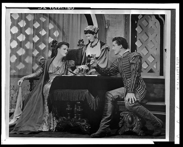 """[Scene from """"Othello"""" with Uta Hagen as Desdemona (left), Margaret Webster as Emilia, and Jack Manning(?) as RoderigoTheatre Guild Production, Broadway, 1943-44]"""