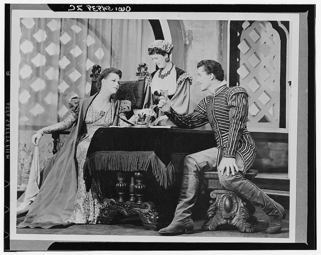 """[Scene from """"Othello"""" with Uta Hagen as Desdemona (left), Margaret Webster as Emilia, and Jack Manning(?) as Roderigo, Theatre Guild Production, Broadway, 1943-44]"""