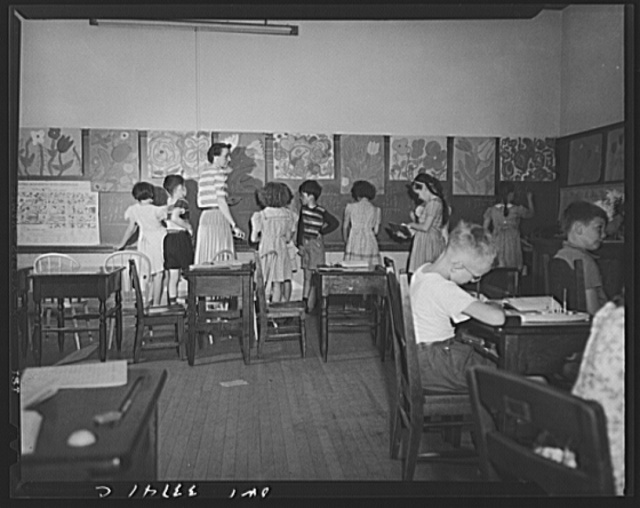 Schenectady, New York. Third grade group at the Elmer Avenue Elementary School at the blackboard