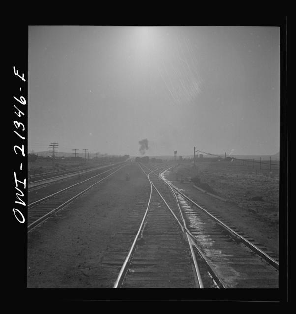 Seligman, Arizona. Leaving the Atchison, Topeka, and Santa Fe Railroad yard between Seligman, Arizona and Needles, California