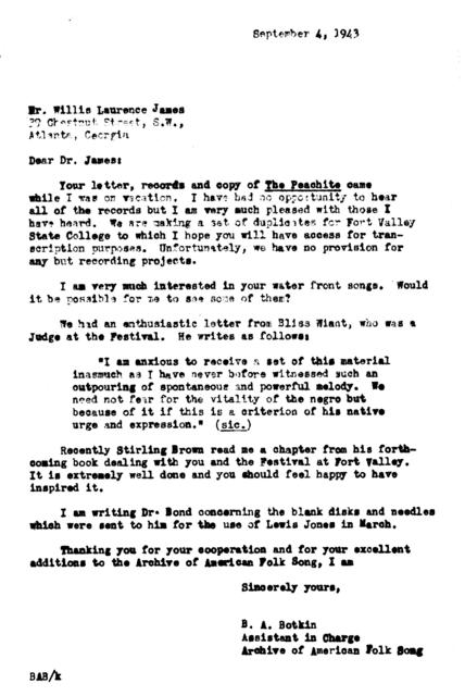 September 4, 1943, letter from B.A. Botkin to Willis Laurence James