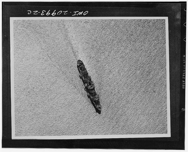 Seven thousand ton Japanese merchant vessel armed fore and aft with anti-aircraft guns as it was spotted by India Air task bombers near Rangoon, India