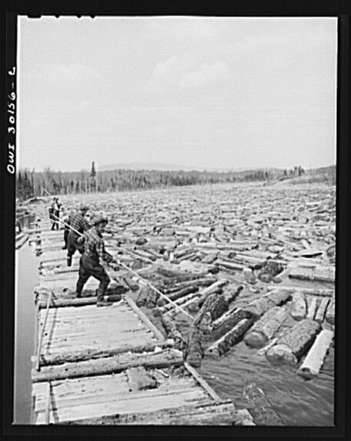 Spring pulpwood drive on Brown Company timber holdings in Maine. Woodsmen with pikes feeding logs into the sluice at the power dam on the Kennebago River