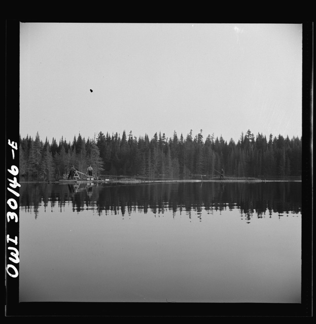 Spring pulpwood drive on the Brown Company timber holdings in Maine. Woodsmen winching up the boom on Long Pond; during the night the wind has blown the logs in the boom up pond away from the dam through which they must be sluiced