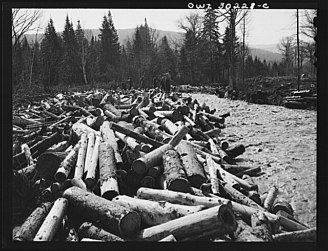 "Spring pulpwood drive on the Brown Company timber holdings in Maine. Woodsmen with picks and pikes ""putting in rears,"" moving into the streambed logs that have been left behind after a ""head"" has passed"