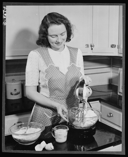 Substitute materials. Glass utensils. Glass mixing bowls are doing double duty today as busy war-working housewives mix, bake, and serve cake in one and the same bowl, with no dishwashing between stages