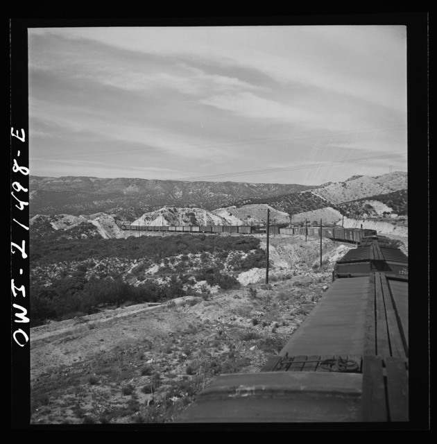 Summit (vicinity), California. Going down the mountains on the Atchison, Topeka, and Santa Fe Railroad between Barstow and San Bernardino, California
